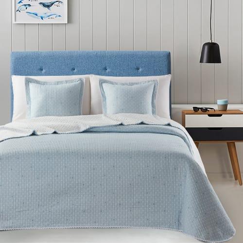 Billede af Atenas sengetæppe med pyntepude - Stella - Blå