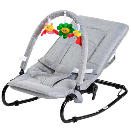 BabyTrold skråstol med legetøj - Grå denim
