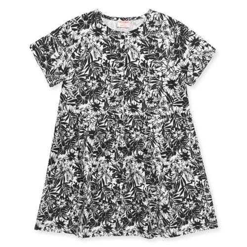 Friends kjole - Sort/hvid med blomster
