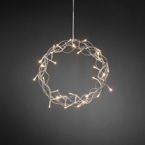 Køb Konstsmide krans med LED-lys – Ø 30 cm – Sølvfarvet