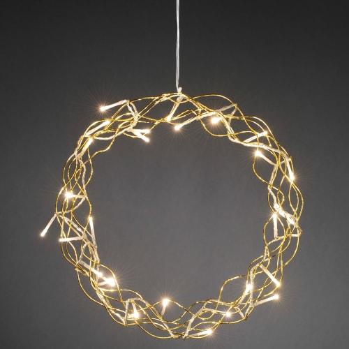 Køb Konstsmide krans med LED-lys – Ø 32 cm – Guldfarvet