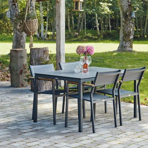 Mandalay Elba havemøbelsæt med 4 Elba stole - Antracit/teak