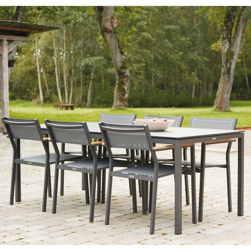 Mandalay Elba havemøbelsæt med 6 Elba stole - Antracit/teak