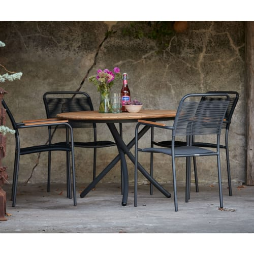 Mandalay Magnolia havemøbelsæt med 4 Verona stole - Teak/antracit