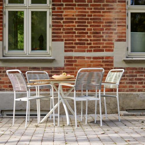 Mandalay Magnolia havemøbelsæt med 4 Verona stole - Teak/hvid/grå