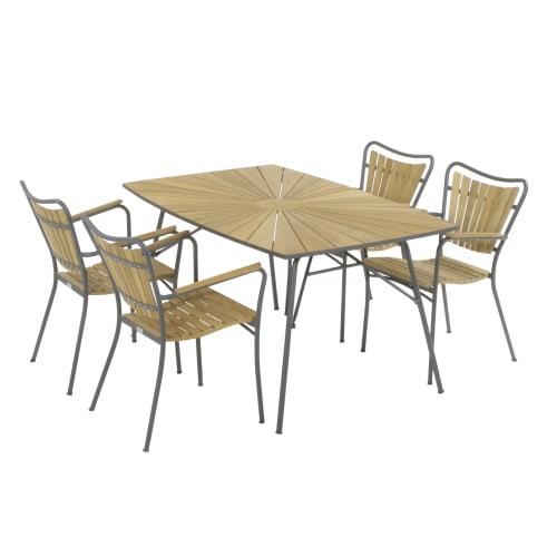 Mandalay Marguerit havemøbelsæt med 4 stole - Teak/antracit