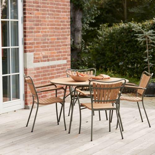Mandalay Marguerit havemøbelsæt med 4 stole - Teak/grøn