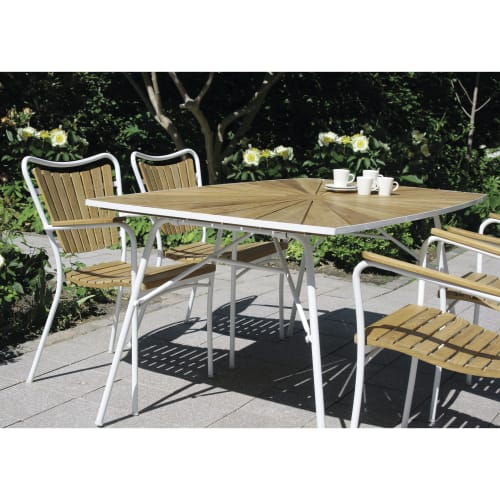 Mandalay Marguerit havemøbelsæt med 4 stole - Teak/hvid