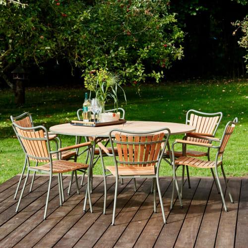 Mandalay Marguerit havemøbelsæt med 6 stole - Teak/grøn