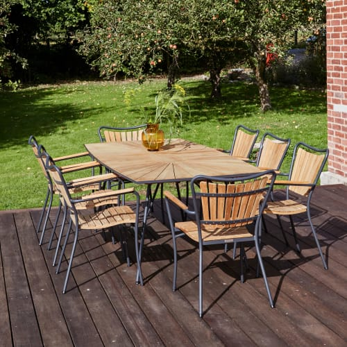 Mandalay Marguerit havemøbelsæt med 8 stole - Teak/antracit