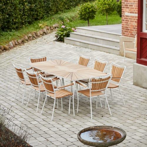 Mandalay Marguerit havemøbelsæt med 8 stole - Teak/hvid