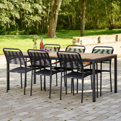 Mandalay Toscana havemøbelsæt med 6 Verona stole - Teak/antracit