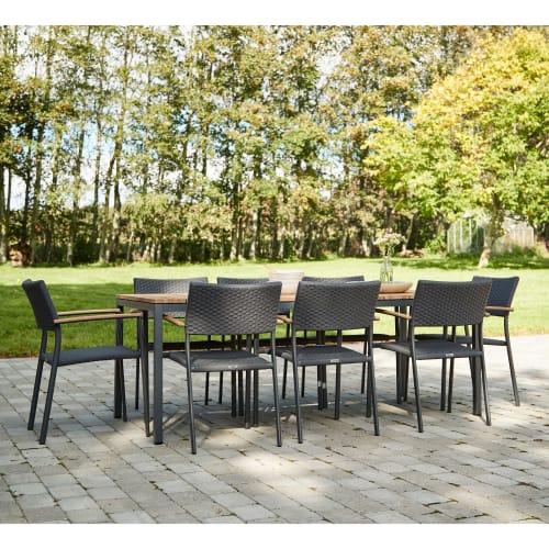 Mandalay Toscana havemøbelsæt med 8 Vienna stole - Teak/antracit