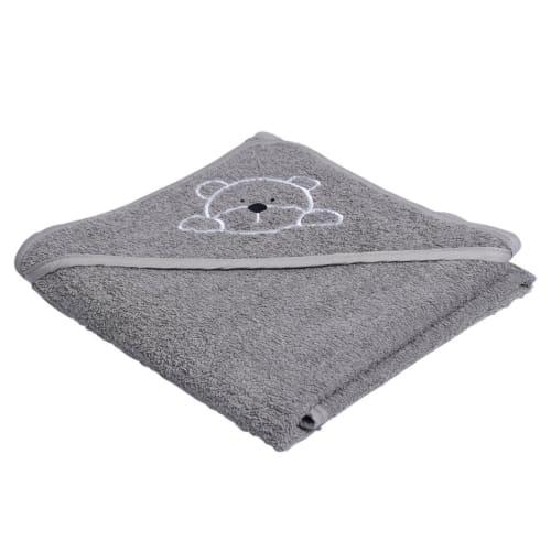 Manostiles babyhåndklæde – Grå med grå kant
