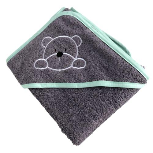 Manostiles babyhåndklæde – Grå med grøn kant