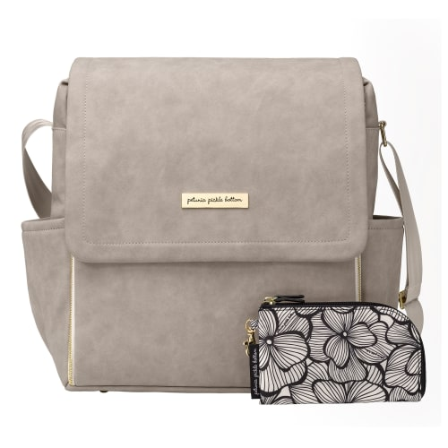 Petunia Pickle Bottom Boxy Backpack Grey Leatherette