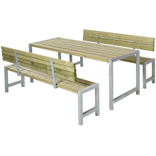 Plus bord- og bænkesæt med ryglæn - Alma - Natur