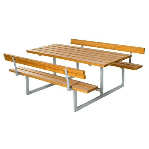 Plus bord- og bænkesæt med ryglæn - Basic - Natur