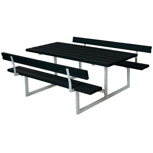 Plus bord- og bænkesæt med ryglæn - Basic - Sort