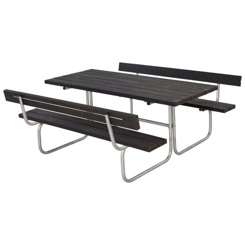 Plus bord- og bænkesæt med ryglæn - Classic - Sort
