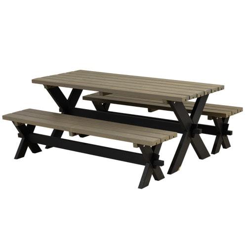 Plus bord- og bænkesæt - Nellie - Sort/gråbrun