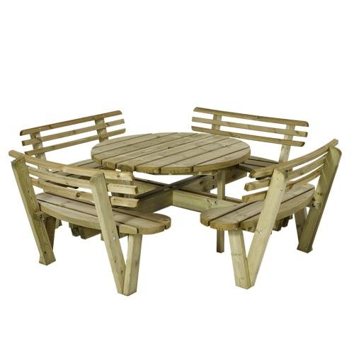 Plus rundt bord- og bænkesæt - Natur