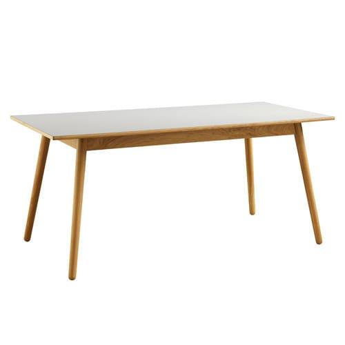 Poul M. Volther 6 Pers. Spisebord - C35b - Eg/grå Linoleum