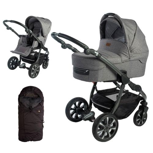 Image of Babynor kombivogn med kørepose - Svala - Grå