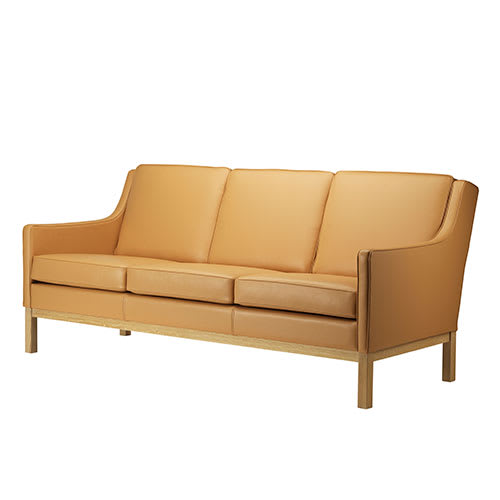 Image of   Erik Wørts 3 pers. sofa - L601-3 - Eg/camelfarvet læder