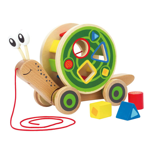 Image of   Hape trækdyr og puttekasse - Pull and Play Shape Sorter
