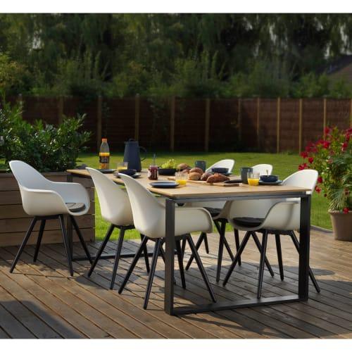Havemøbelsæt inkl. hynder - Solaima L Plus - Natur/hvid