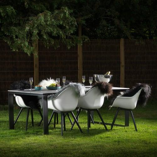 Havemøbelsæt inkl. hynder - Solaima L Plus - Sort/grå/hvid