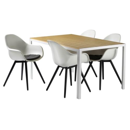 Havemøbelsæt inkl. hynder - Solaima M - Hvid/natur