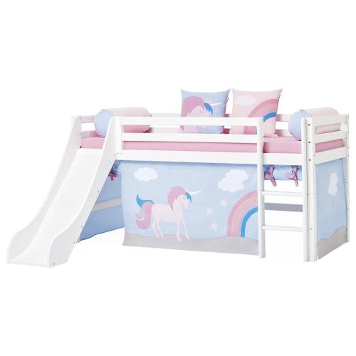 Hoppekids Halvhøj Børneseng Med Rutsjebane - Basic - Unicorn
