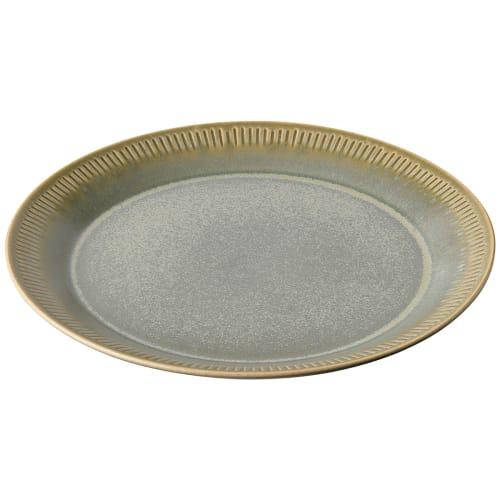 Image of   Knabstrup Keramik middagstallerken - Olivengrøn