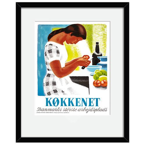 Image of   Køkkenet er Danmarks største arbejdsplads plakat i ramme