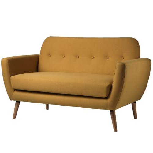 Living&more 2 pers. sofa - Alma - Mustard