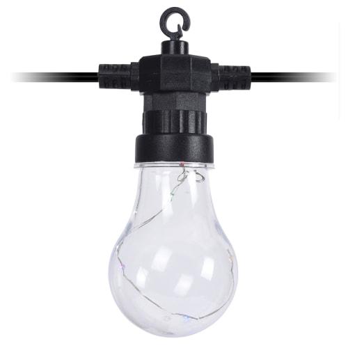 Lyskæde med 10 klare pærer - Multifarvet lys