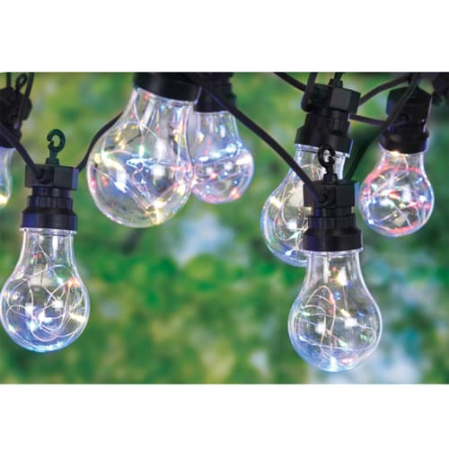 Lyskæde med 10 klare pærer (Ø 5 cm) med multifarvede LED-lys