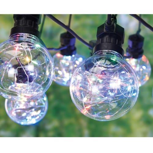Lyskæde med 10 klare pærer (Ø 8 cm) med multifarvede LED-lys