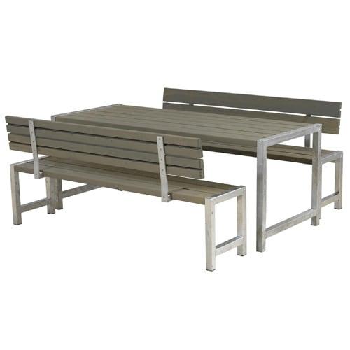 Plus bord- og bænkesæt med ryglæn - Alma - Gråbrun