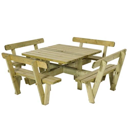 Plus firkantet bord- og bænkesæt - Natur