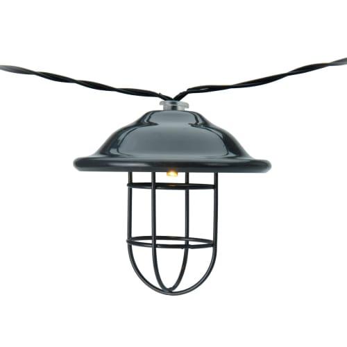 Solcelle lyskæde med 10 små mørkegrå metal skibslanterner - Varm hvid