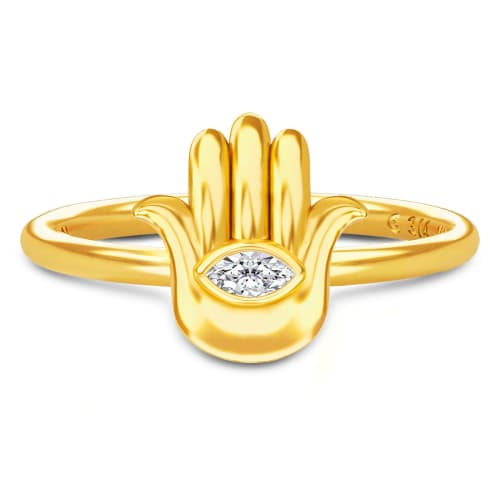 Image of   Spinning Jewelry ring - Aura Hamsa - Forgyldt sterlingsølv