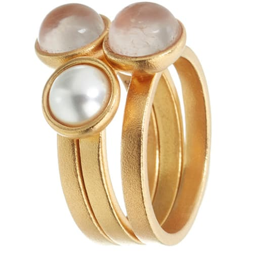Image of   Spinning Jewelry ring - Lucky Pearl - Forgyldt sterlingsølv