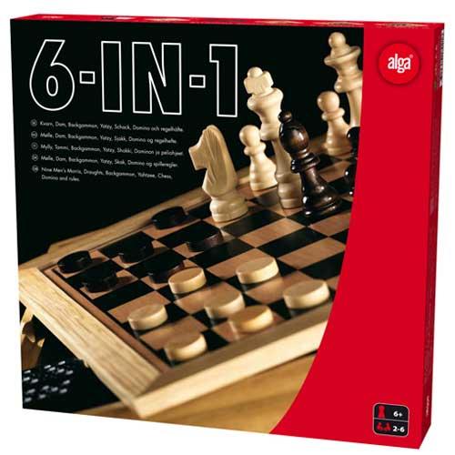 Skak, dam, backgammon, domino, mølle og yatzy