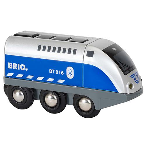 Lokomotivet kan styres via app eller via knap på taget