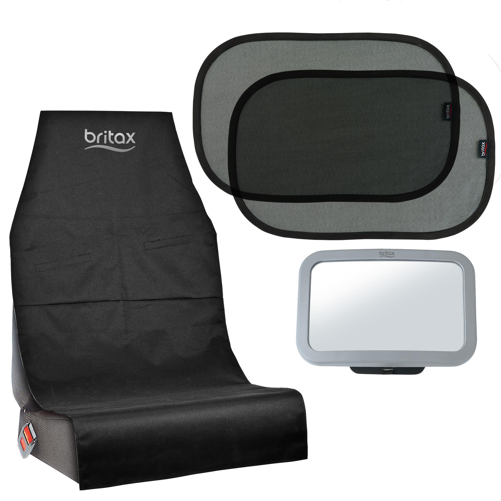 Sædebeskyttelse, bagsædespejl og solskærme