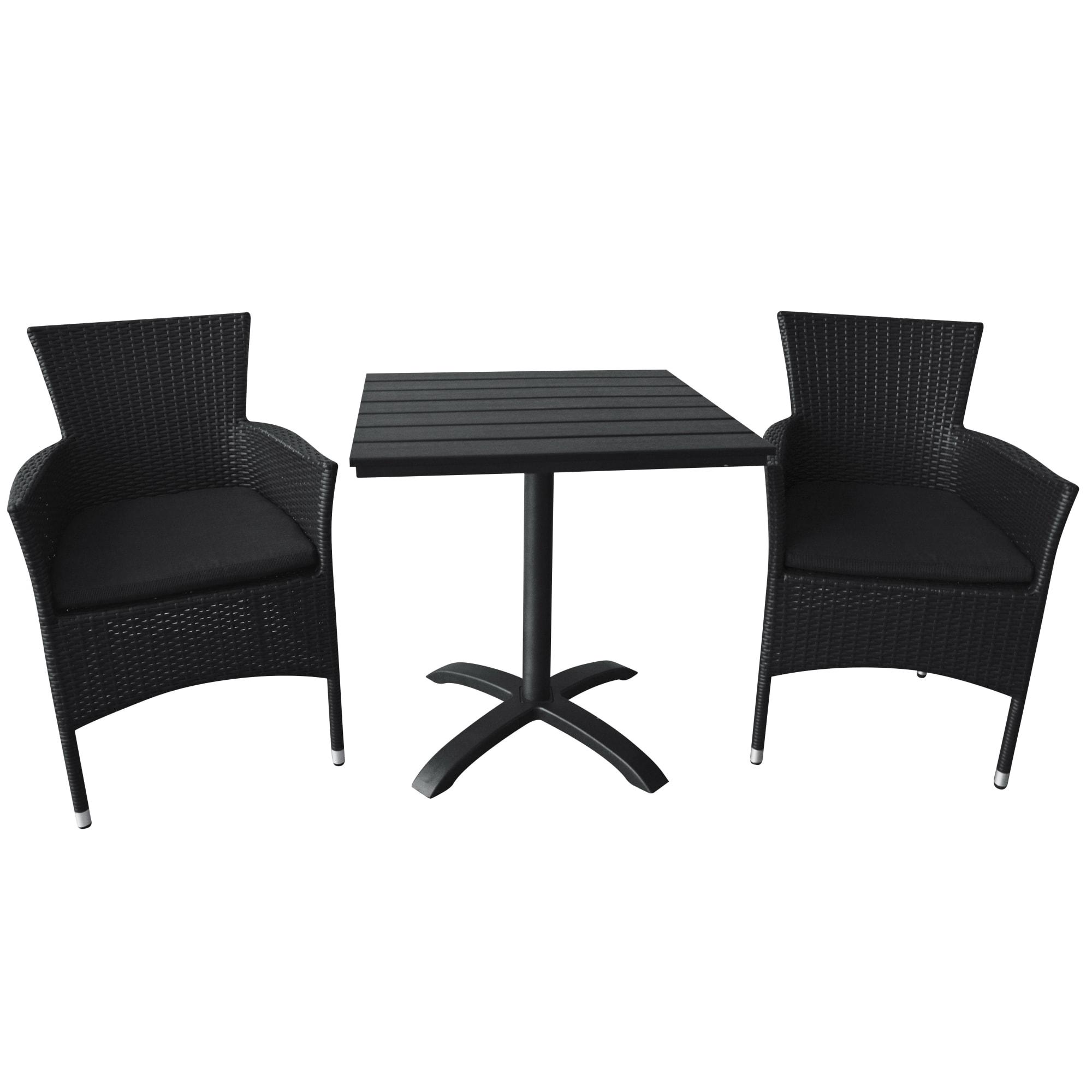 Bord (L 70 cm) og stabelbare stole inkl. hynder