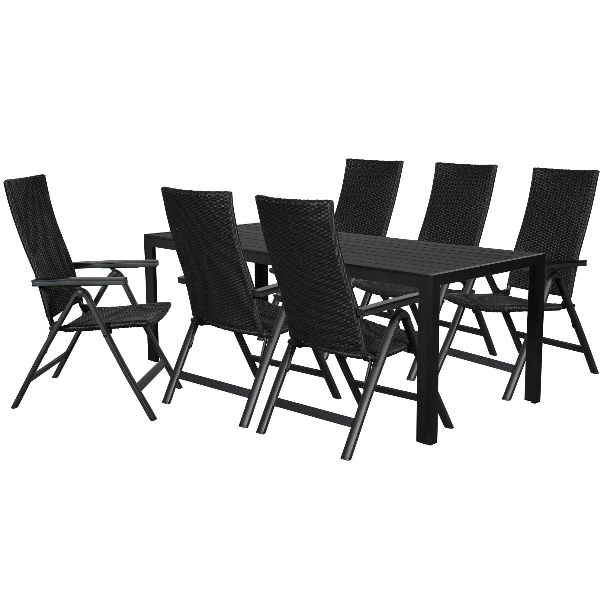 Bord (L 205 cm) og positionsstole